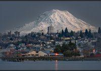 tacoma snow covered skyline